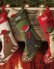 give your mantel an old fashioned christmas look with these lovely handhooked dog stockings - Dog Stockings For Christmas