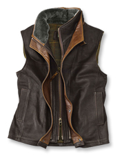 You've got an extra layer of protection in this warm, rugged goatskin Trekker Shearling Vest.