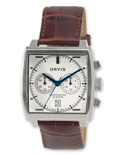 The Orvis SQ Chronograph showcases a distinctive square watch face and patterned leather band.
