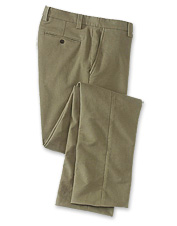 These plain front pants offer the rich feel of moleskin and the comfort of added stretch.