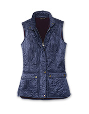Keep plenty cozy through cool seasons wearing the fleece-lined, quilted Wray Gilet by Barbour.