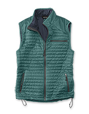 Our Pack-And-Go Drift Vest boasts packable convenience and remarkable wet-or-dry warmth.