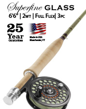 Embark upon favorite remote mountain streams with the Superfine Glass 2-Weight 6'6