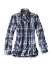 Get a breathable, comfortable layer in an eye-catching plaid with our Indigo Tech Woven Shirt.