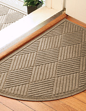 Protect your floors with our durable Diamonds Recycled Water Trapper Half Moon Mat.