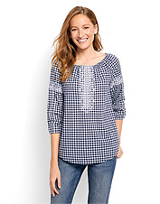 Our Peasant Gingham Embroidered Shirt will become your bohemian summertime staple.