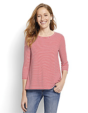 Pullover styling and an asymmetrical hem will make this soft, striped tee your new favorite.