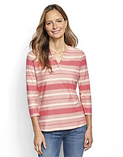We take the striped tee from ordinary to remarkable in our split-neck, textured version.