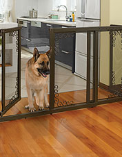 Our Deluxe Freestanding Mesh Dog Gate is handsome enough to leave up all the time.