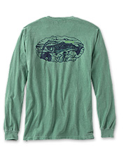 A lively brook trout dances across the back of this soft, comfortable long-sleeved T-shirt.