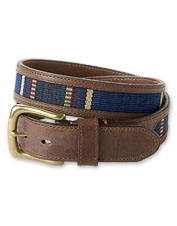 An inlay of a blanket striped weave creates a handsome Southwestern-inspired leather belt.