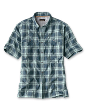 Muggy days on the water call for our quick-dry, short-sleeved Open Air Plaid Casting Shirt.