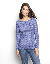 A feminine shape and an ultra-soft hand come together in our Patterned Boatneck Perfect Tee.