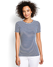 Every wardrobe needs this Short-Sleeved Perfect Crewneck Tee in a classic striped pattern.