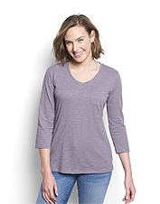 Add a little texture to your wardrobe with this Cotton Jersey Slub Three-Quarter-Sleeved Tee.