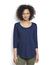 Elevate your casual wardrobe with our textural Indigo Easy Three-Quarter-Sleeved Tee.