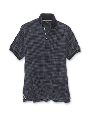 A soft knit in genuine indigo conspires to make this cool, striped polo shirt a favorite.