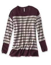 A blend of cashmere, silk, and cotton gives our Striped Tunic Sweater a seasons-spanning feel.