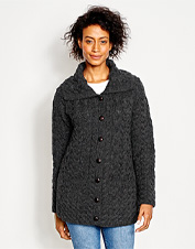 As tradition dictates, wishes for luck were knit into this Cable-Detailed Irish Wool Cardigan.