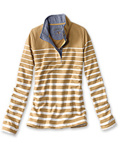 Pick a season—our cozy Striped Quarter-Button Sweatshirt is a ready-to-perform layer.