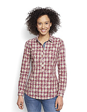Over printed plaid hints at embroidered details on this soon-to-be favorite popover shirt.