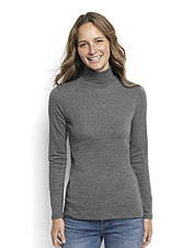 Our silky jersey knit blend lends plenty of comfort to the versatile Solid Perfect Turtleneck.