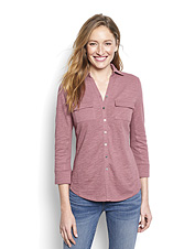 You'll reach for this Slub Cotton Button-Front Tee for its comfortable fit and superb texture.