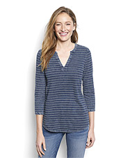 Why choose between all-day comfort and smart style when this Indigo Stripe Tee offers both?