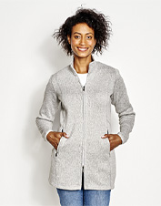 A marled sweater knit gives you an excuse to wear your favorite fleece coat anywhere you want.