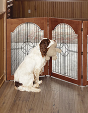 Create safe spaces for your dog with this convenient folding Wood and Wire Freestanding Gate.