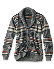 An earthy palette and a love of nature influenced this Santa Fe button-front cardigan.