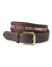 Leather lacing and woven trim meet in this handsome Southwestern-inspired Bison Santa Fe Belt.