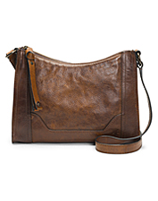 The Melissa Zip Crossbody Bag by Frye showcases exceptional handicraft in burnished leather.
