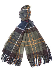 This tartan scarf by Barbour shows off a thick bouclé texture that shuns cold winter weather.