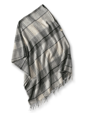Wear this Wool Plaid Button-Detail Poncho over anything for ideal warmth without the bulk.
