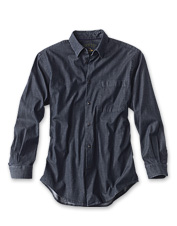Laid-back denim with an easy stretch will put this lightweight shirt at the top of your list.