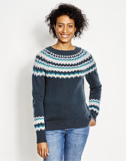Extra-soft cashmere lends lightweight warmth to this luxurious take on the Fair Isle sweater.