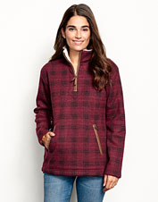 Sherpa teams up with an irresistible buffalo check for a fleece sweatshirt you can't pass up.