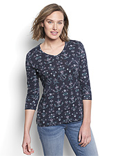 Our printed cotton slub tee layers easily for fickle summer evenings and cool autumn days.