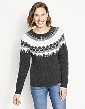 Luxe merino wool and yak fibers lend softness and warmth to our Fair Isle Crewneck Sweater.