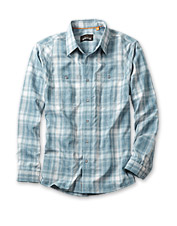 Take on long days at work or play in this breathable, quick-dry Tech Chambray Plaid Workshirt.