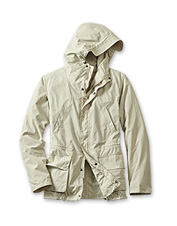 Zippers and hoods up—the lightweight Cogra Casual Jacket by Barbour battles finicky weather.