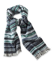 Our Striped Jacquard Muffler is woven thick for warmth and comfort even on the chilliest days.
