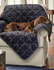 Grip-Tight backing ensures our ToughChew dog throw blanket stays put to protect the furniture.