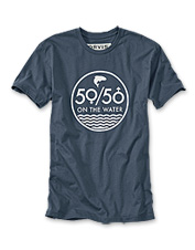 Celebrate women on the water and invite more women to fish with our men's 50/50 logo T-shirt.