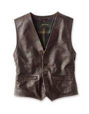 The rich sheep nappa in our Powderhorn Leather Vest recounts tales with its deepening patina.