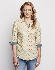 This Floral and Stripe Popover Shirt offers comfort that adjusts as the weather transitions.