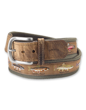 Any impassioned angler will appreciate the motif on our woven Pontoon Trout Story Belt.