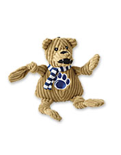 Show off your dog's favorite team—and yours—with a rugged college mascot knotted plush toy.