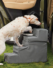 This car seat extender unfolds to convert into steps so your dog is comfortable on the go.